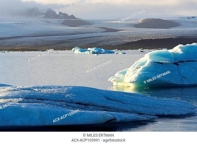Icebergs Floating on Jokulsarlon Glacial Lagoon, Iceland
