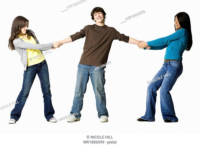 two teenage girls fighting over the same guy