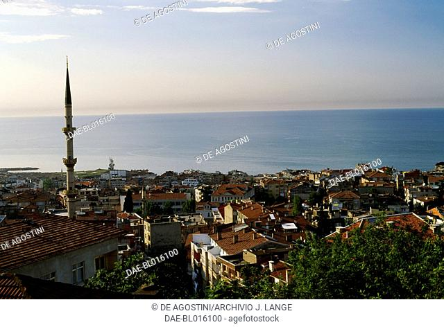View of the city of Trabzon with the Black Sea in the background, Turkey