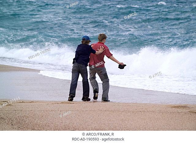Boys at beach, Vignola Mare, Gallura, Sardinia, Italy, Mediterranean Sea