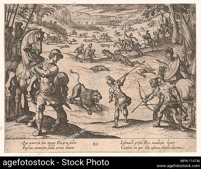Plate 11: Alexander's Lion Hunt, from The Deeds of Alexander the Great. Artist: Antonio Tempesta (Italian, Florence 1555-1630 Rome); Publisher: Johannes...