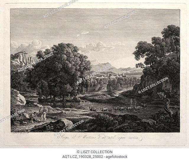 Heroic Landscape: Cattle Crossing the River, 1795. Johann Christian Reinhart (German, 1761-1847). Etching; sheet: 42.9 x 53.8 cm (16 7/8 x 21 3/16 in
