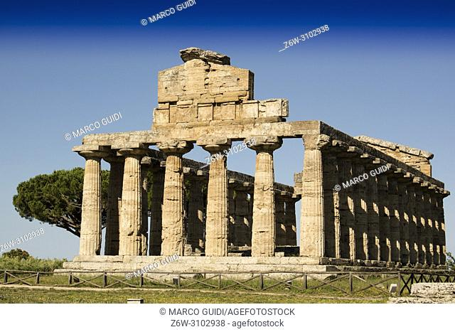 The ancient ruins of Paestum Italy remains of religious buildings of the ancient Greek domination.