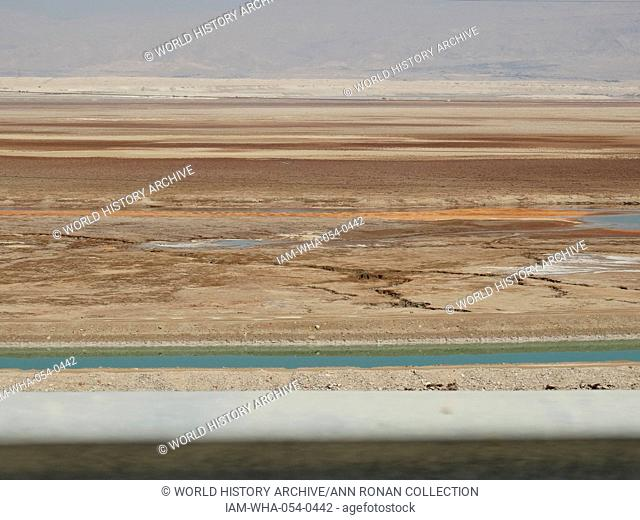 Quicksand pits along the edges of the southern shore of the Dead Sea. Its surface and shores are 427 metres (1, 041 ft) below sea level; Earth's lowest...