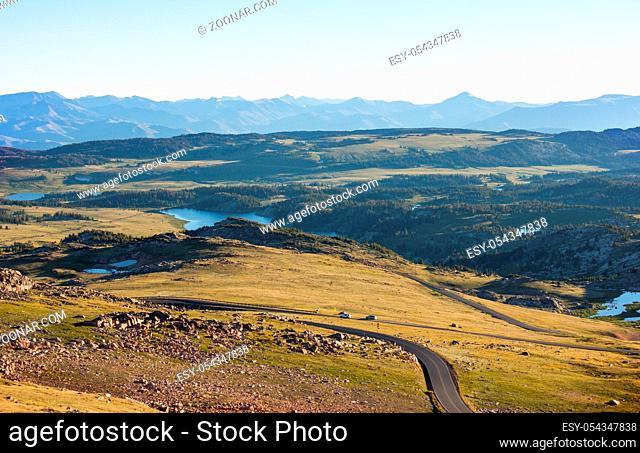 Beautiful landscape of Beartooth Pass. Shoshone National Forest, Wyoming, USA. Sunrise scene