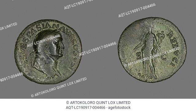Dupondius (Coin) Portraying Emperor Vespasian, AD 77/78, Roman, minted in Lugdunum (now Lyon, France), Roman Empire, Bronze, Diam. 2.9 cm, 10.27 g