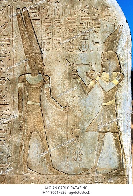 Luxor, Egypt. Temple of Merenptah (Baenra Meriamon) XIX° dyn. son of Ramses II the Great: a detail of a stele of the king Nebmaatra Sethi I