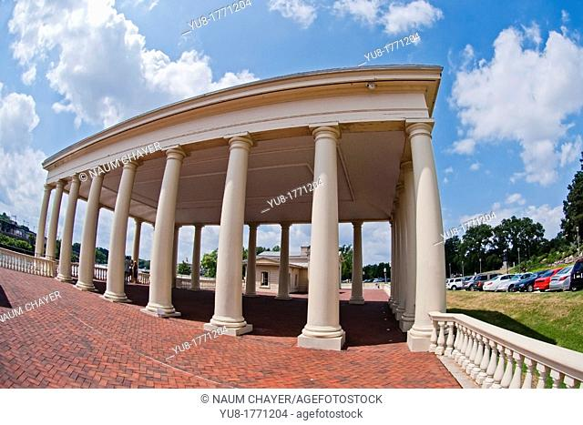 Colonnade of graceful neoclassical buildings of The Fairmount Water Works on the Schuylkill River, Philadelphia, Pennsylvania, USA
