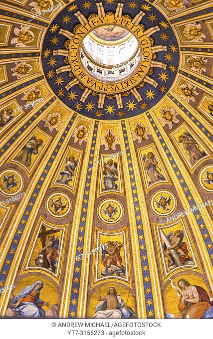 St Peter's Cathedral Cupola ceiling. Vatican city, Rome. Lazio, Italy