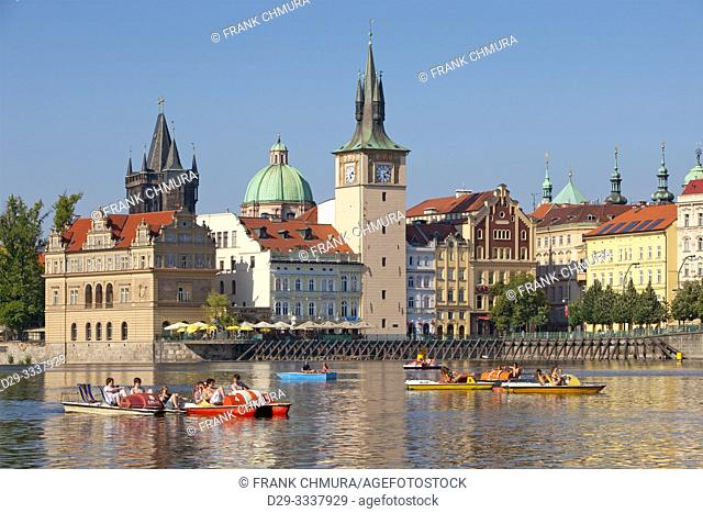 Czech Republic, Prague - Old Town spires and Pedal Boats on Vltava River