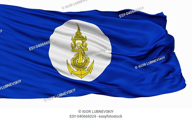 Royal Thai Navy Flag, Isolated On White Background