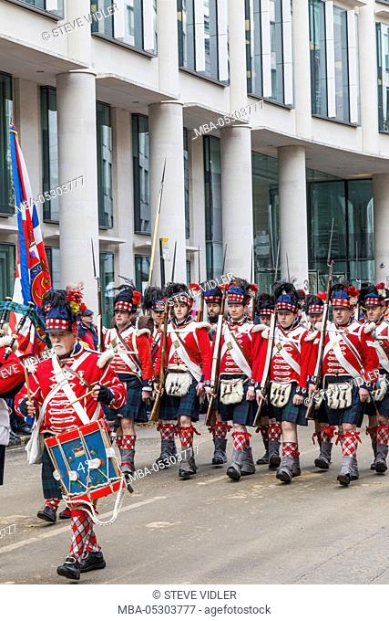 England, London, The Lord Mayor's Show, Parade Group in Historical Military Uniform