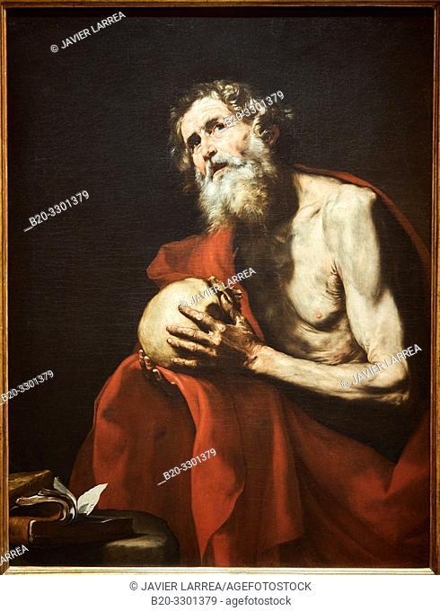 """Saint Jerome in Penitence"", 1634, José de Ribera, Thyssen Bornemisza Museum, Madrid, Spain, Europe"
