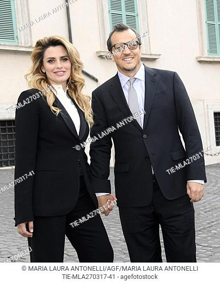 The director Gabriele Muccino with wife Angelica Russo arrive for David di Donatello Awards nominees prize, Quirinale, Rome, ITALY-27-03-2017