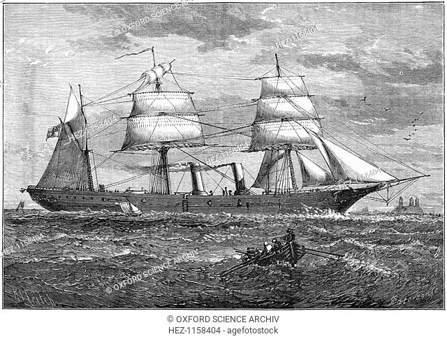 Dispatch vessel HMS 'Iris', c1880. Launched in 1877, this was the first steel ship built for the British Admiralty. She was constructed of steel made by the...