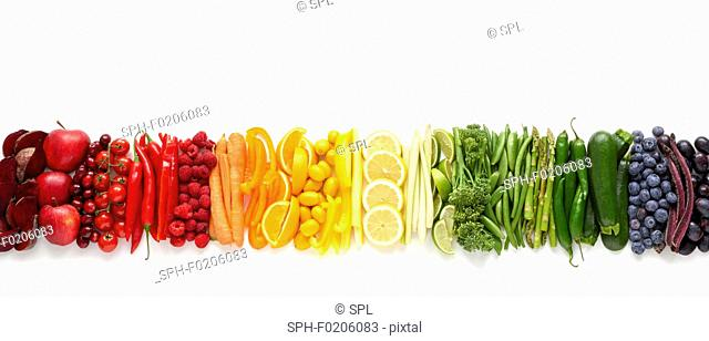 Fresh produce in a line