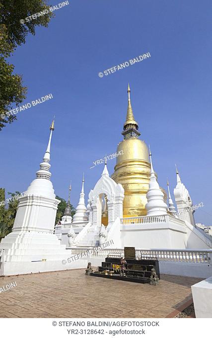 The chedi and stupas at Wat suan dok, Chiang Mai, Thailand