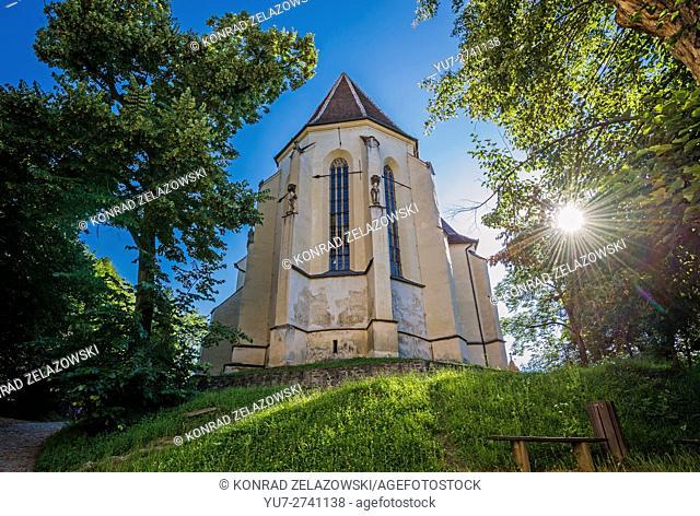 Church on the Hill (Biserica din Deal) in Historic Centre of Sighisoara city, Transylvania region in Romania