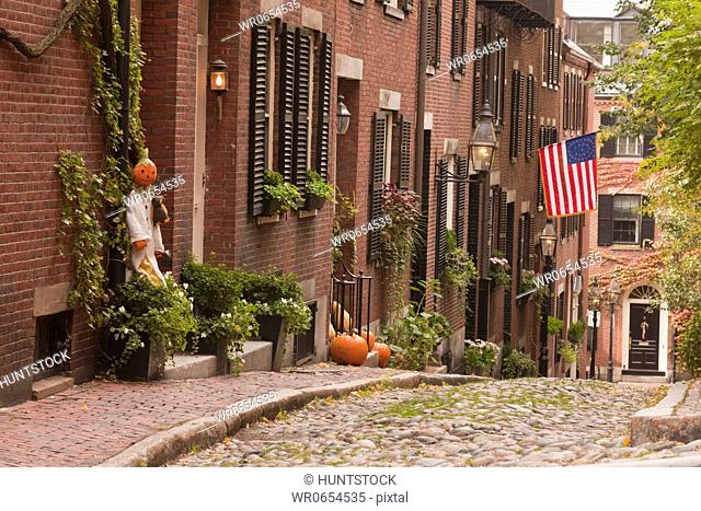 Acorn Street during Halloween, Boston, Massachusetts, USA