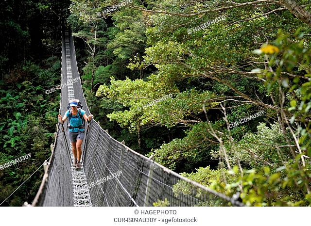 Female hiker crossing footbridge, Tararua Ridge, New Zealand