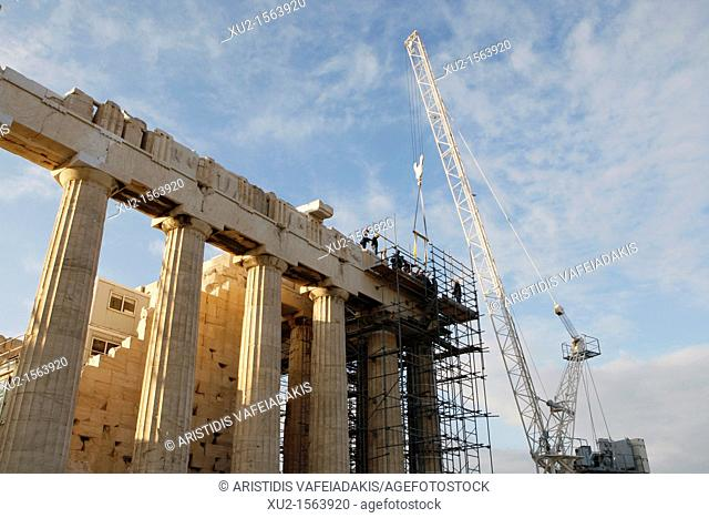 1 November 2011 Athens Greece  Transportation from the Parthenon of the 32nd part of the ancient frieze by the name of 'Annunciation of Virgin Mary' for...