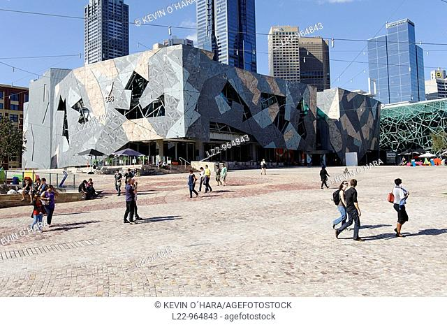 Federation Square is a cultural precinct. It comprises a series of buildings containing a public broadcaster, art galleries, a museum, cinemas