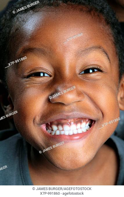 African American Boy with a wide smile