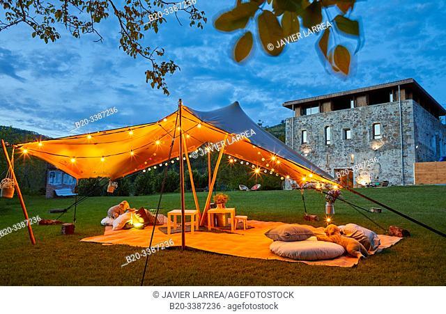 Tent for events and weddings, Fagoaga Dorretxea, Ergoien, Oiartzun, Gipuzkoa, Basque Country, Spain, Europe