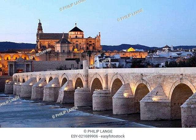 The Roman Bridge with the Cathedral-Mosque of Cordoba in the background. Andalusia, Spain