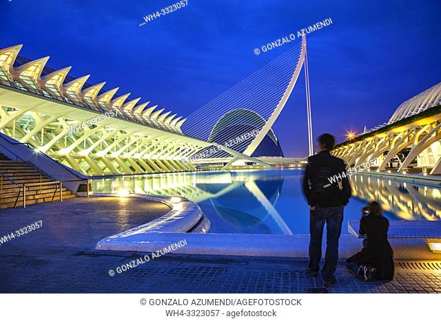 In the foreground Principe Felipe Science Museum. In the background Agora. . City of Arts and Sciences. Architect Santiago Calatrava. Valencia