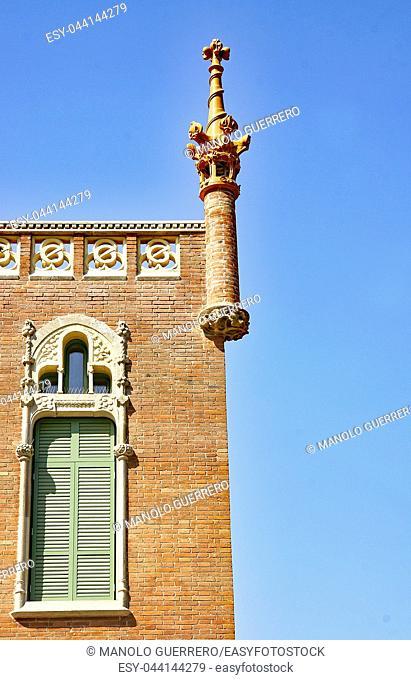 Ornamental sculpture of the Hospital de Sant Pau in Barcelona, Catalunya, Spain