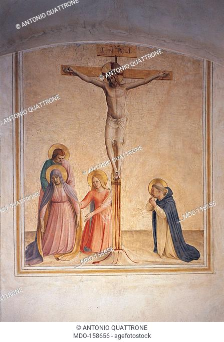 The Crucifixion, by Guido di Pietro (Piero) known as Beato Angelico, 1438 - 1446 about, 15th Century, fresco, . Italy, Tuscany, Florence, San Marco Convent