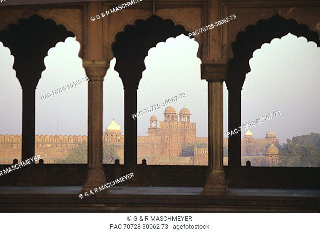 India, Agra, View of Red Fort from Taj Mahal