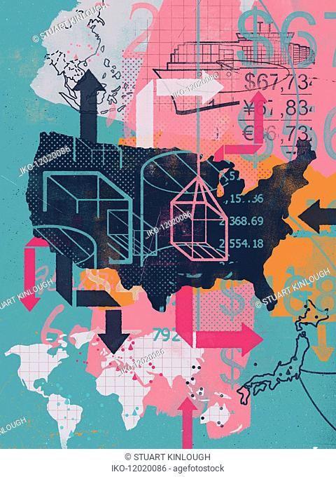 Collage of United States and global trade
