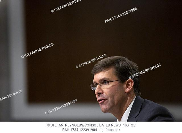 Mark T. Esper testifies before the U.S. Senate Armed Services Committee on Capitol Hill in Washington D.C., U.S. on July 16, 2019