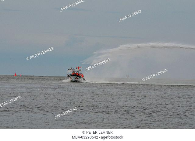 Germany, the North Sea, sea rescue, exercise, rescue lifeboat, fire-fighting cannon