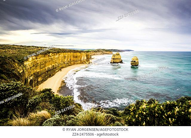 Vibrant HDR image of The Twelve Apostles sightseeing vista off the coast of the Great Ocean Road, Victoria. Tourism Victoria landscapes