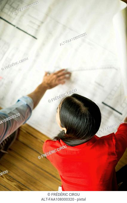 Colleagues looking at blueprint together