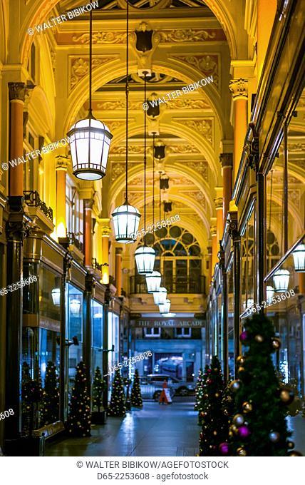 England, London, Mayfair, The Royal Arcade, evening