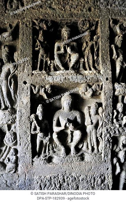 buddha statue, buddhist rockcut cave, aurangabad caves, maharashtra, india