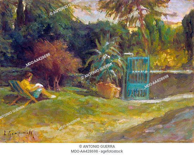Morning at Barbieri Villa, by Ferruccio Giacomelli, 1967, 20th Century, oil on canvas. Private collection. Whole artwork view