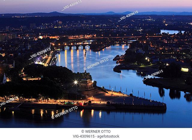 D-Koblenz, Rhine, Moselle, Maifeld, Eifel, Hunsrueck, Westerwald, Rhineland-Palatinate, town panorama, night photograph, Deutsches Eck