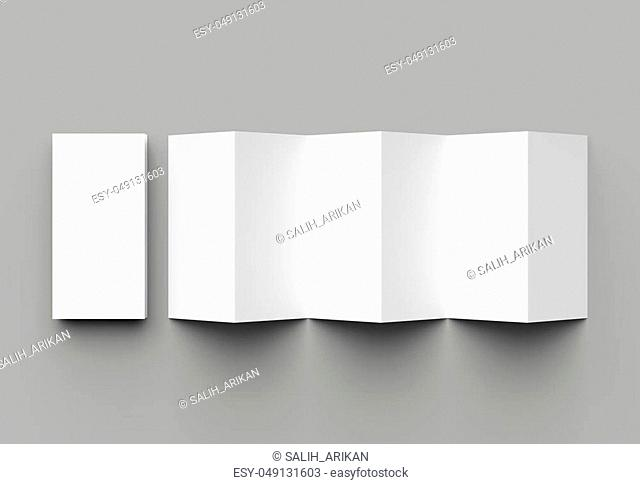 12 page leaflet, 6 panel accordion fold - Z fold vertical brochure mock up isolated on gray background. 3D illustration