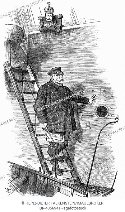 The Punch cartoon Dropping the Pilot or The pilot leaving the ship by Sir John Tenniel about dismissal of the German Chancellor Otto von Bismarck in 1890