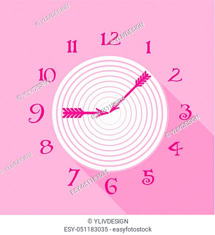 Pink wall clock icon. Flat illustration of pink wall clock icon for web