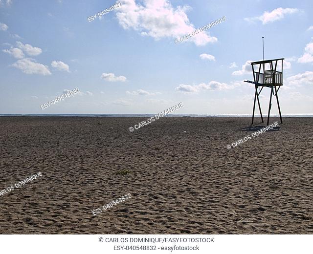 beach guard elevated platform in Mojacar Spain