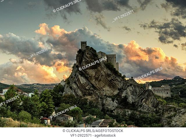The medieval castle of Roccascalegna at sunset, in the Aventino-Medio Sangro valley, Chieti district, Abruzzo, Italy, Europe