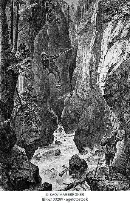 In the Partnachklamm gorge near Garmisch-Partenkirchen, Bavaria, Germany, wood engraving, about 1880