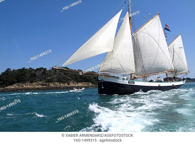 Ancient schooner sailing, Bay of Morbihan, Brittany, France, Europe