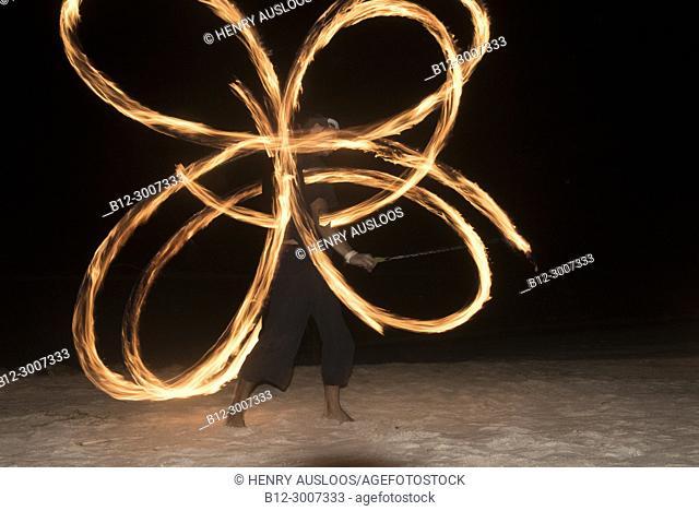 Thailand, Koh Samui, Fireman show on the beach